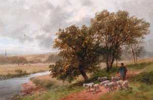 James Peel - Landscape with Shepherd and Sheep