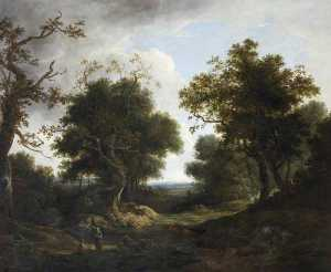 Benjamin Barker Ii - Wooded Landscape with Cattle, Sheep and Peasant Figures by a River