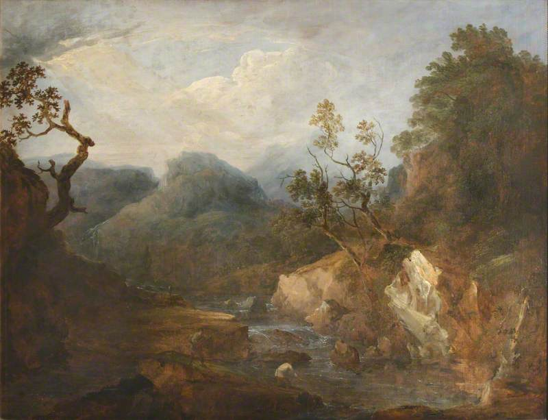 View of a River with Rocks and Trees, Canvas by Benjamin Barker Ii