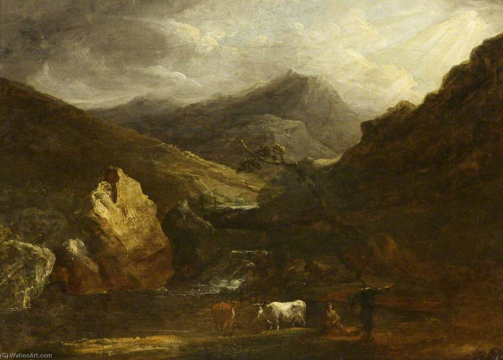 Mountain Landscape with View of Snowdon, Oil On Canvas by Benjamin Barker Ii