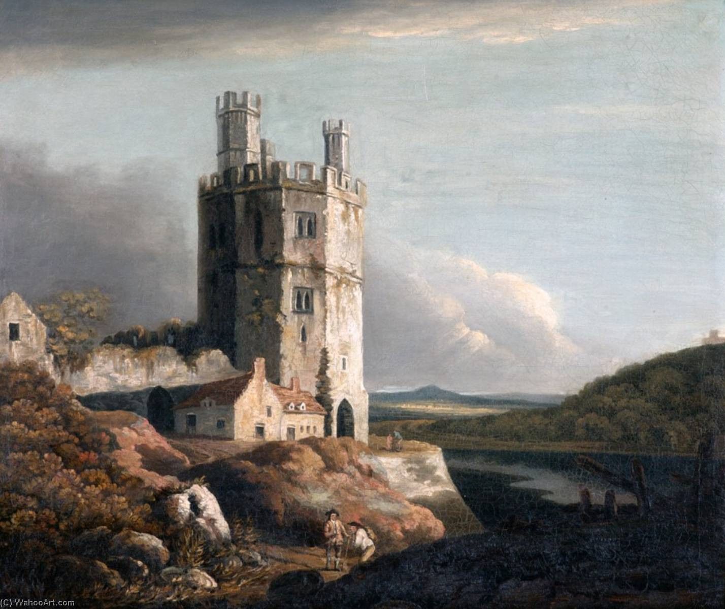 The Eagle Tower, Carnarvon Castle, Oil On Canvas by Benjamin Barker Ii