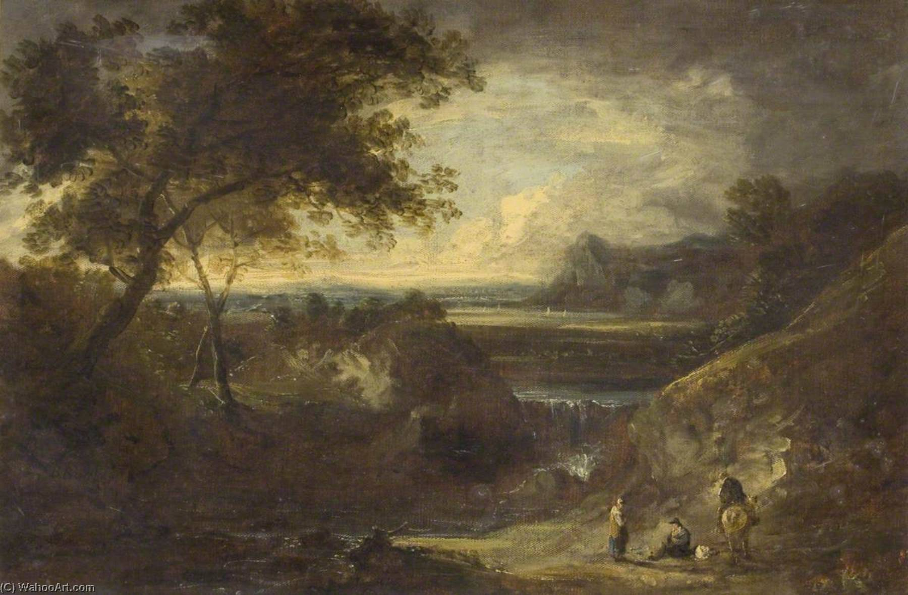 Landscape with Figures, Oil On Canvas by Benjamin Barker Ii
