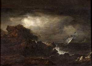 Benjamin Barker Ii - Seascape with a Rocky Coast and a Lighthouse