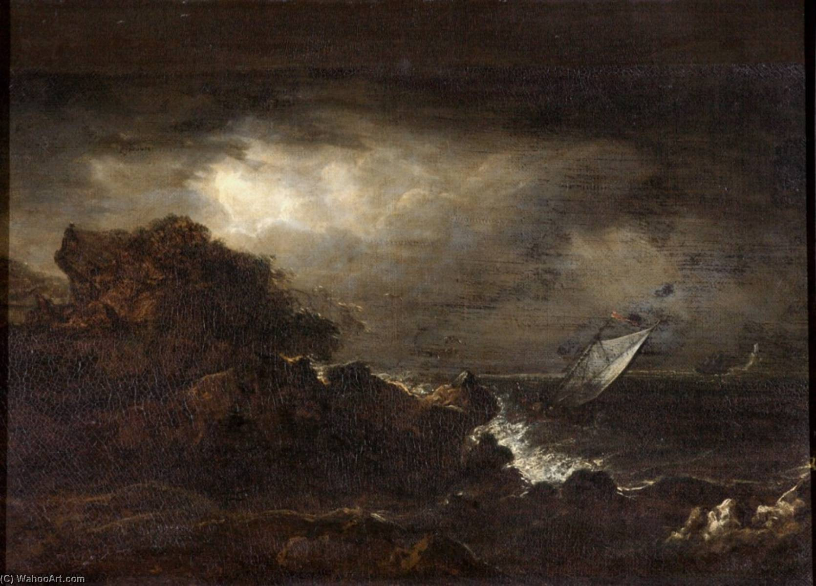 Seascape with a Rocky Coast and a Lighthouse, Oil On Canvas by Benjamin Barker Ii