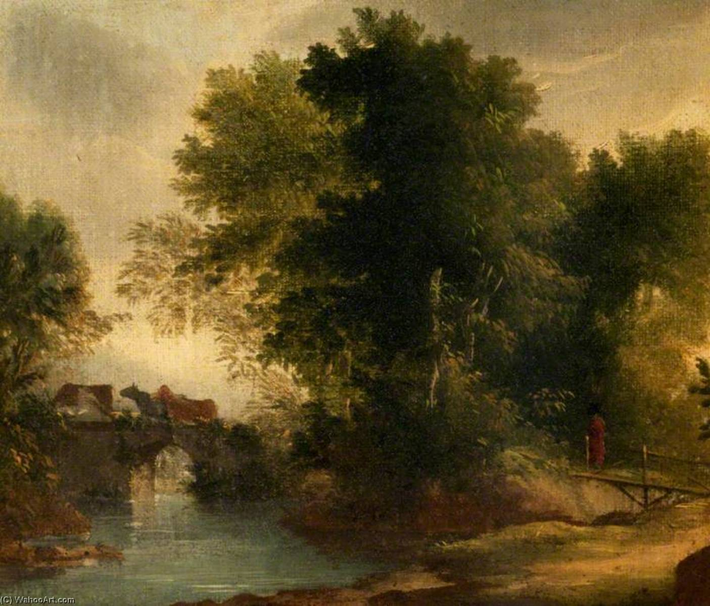A Wooded River Landscape with a Bridge, Oil On Canvas by Benjamin Barker Ii