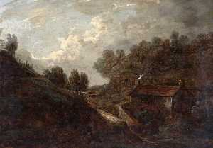 Benjamin Barker Ii - Landscape with a Cottage and a Stream