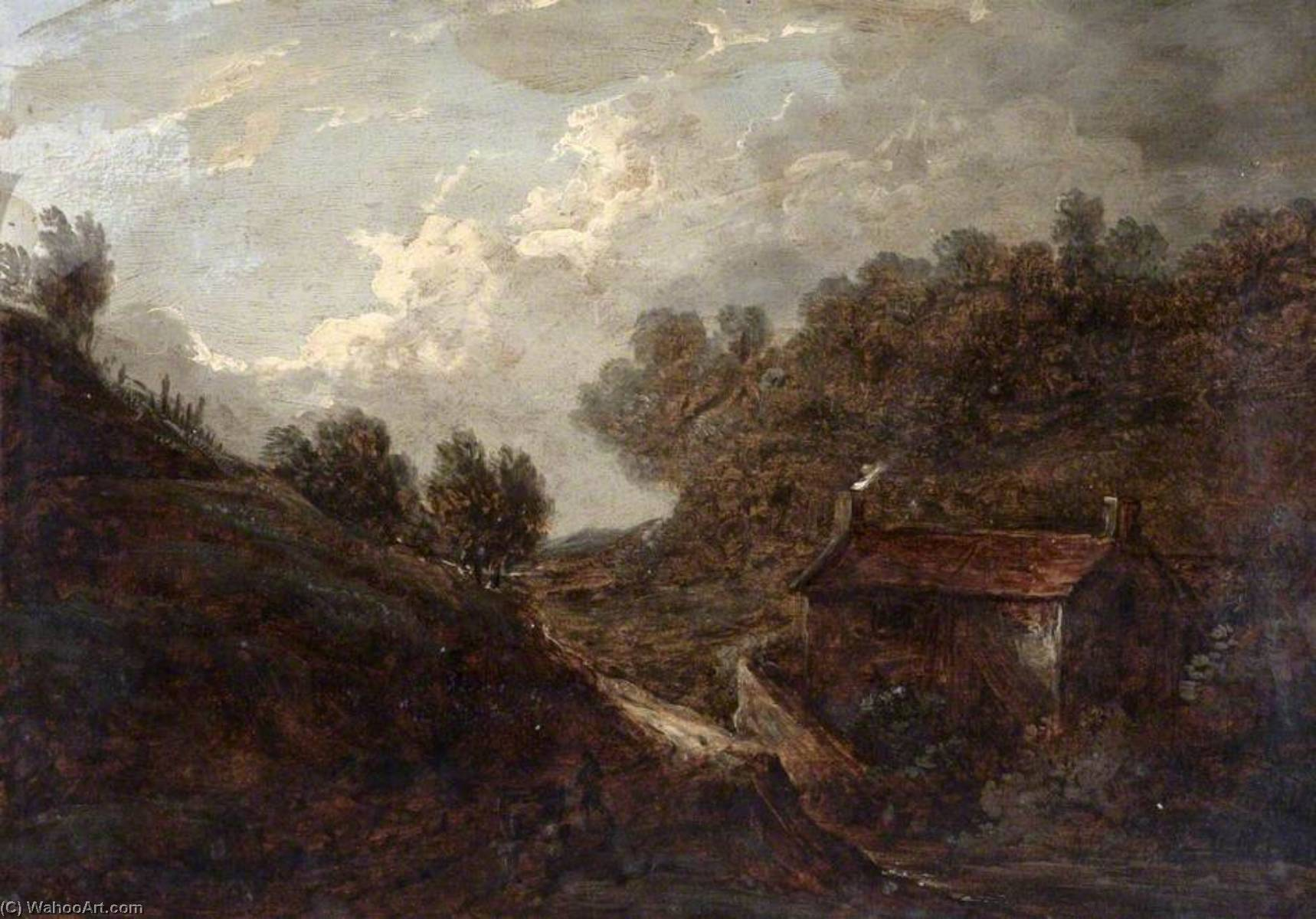 Landscape with a Cottage and a Stream, Oil by Benjamin Barker Ii