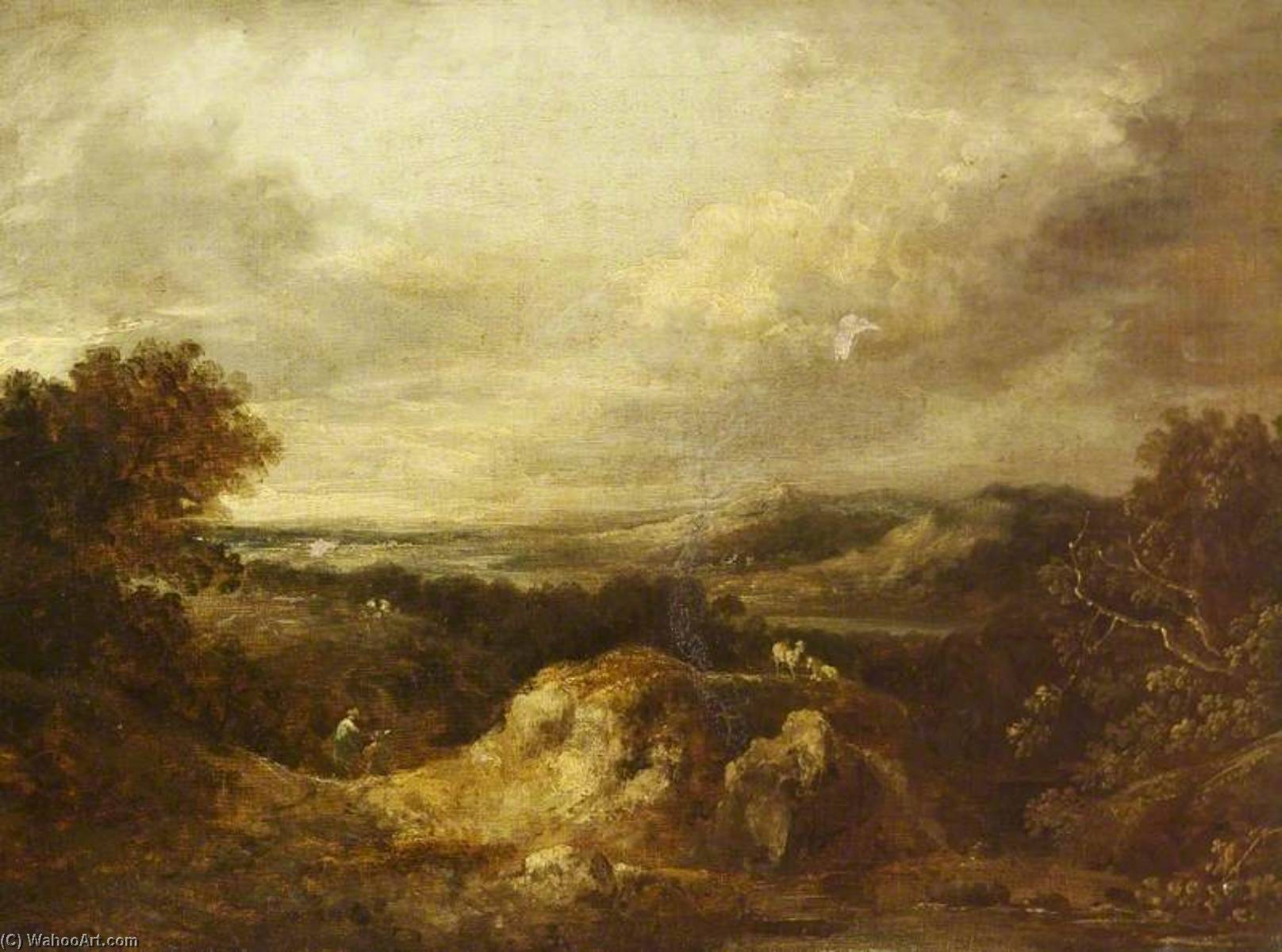 Landscape with Quarries, Oil On Canvas by Benjamin Barker Ii