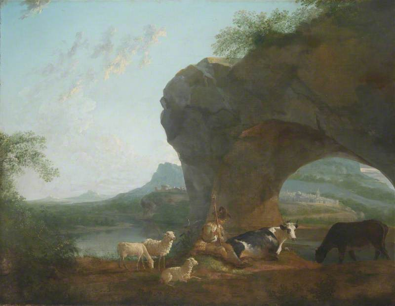 Italianate Landscape with a Herdsman and Three Sheep and Two Cows under a Rock Arch, Oil On Canvas by Benjamin Barker Ii