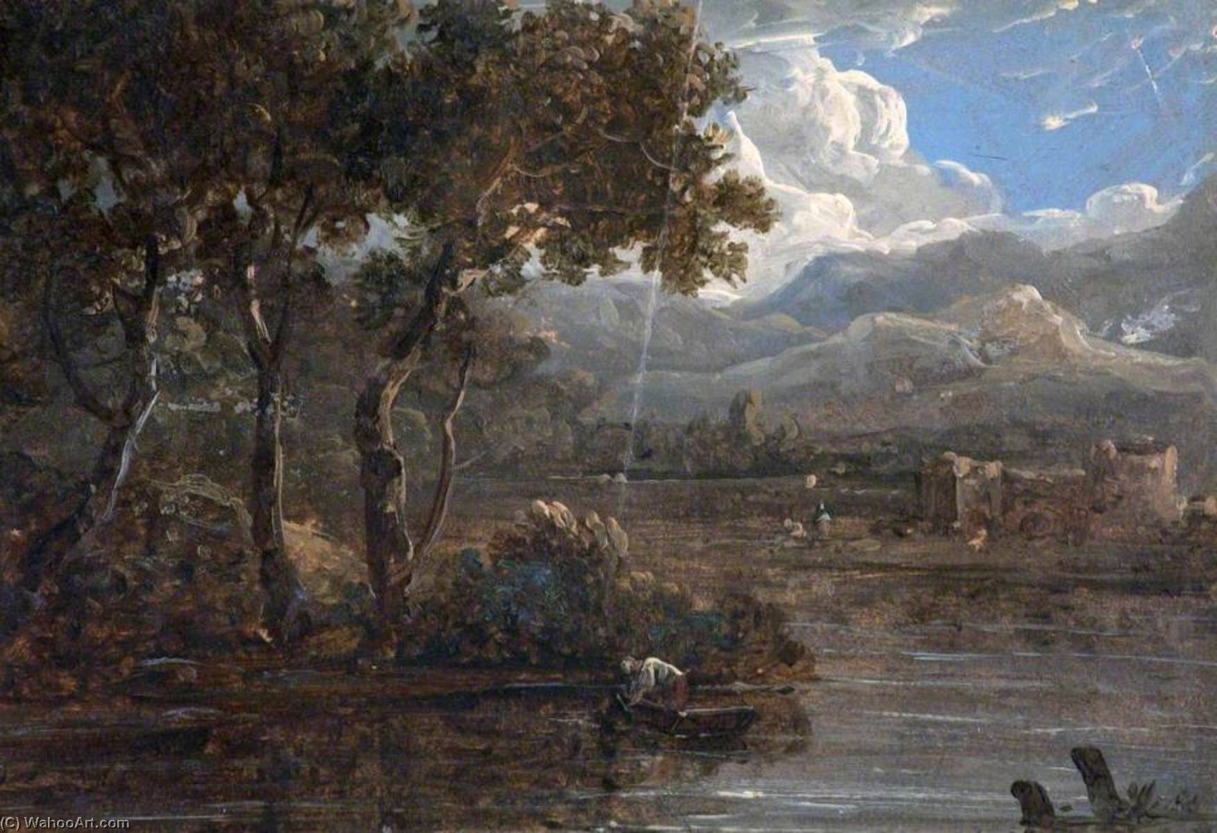 River Landscape with Ruined Castle, Oil by Benjamin Barker Ii