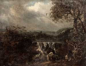 Benjamin Barker Ii - River Landscape with a Waterfall