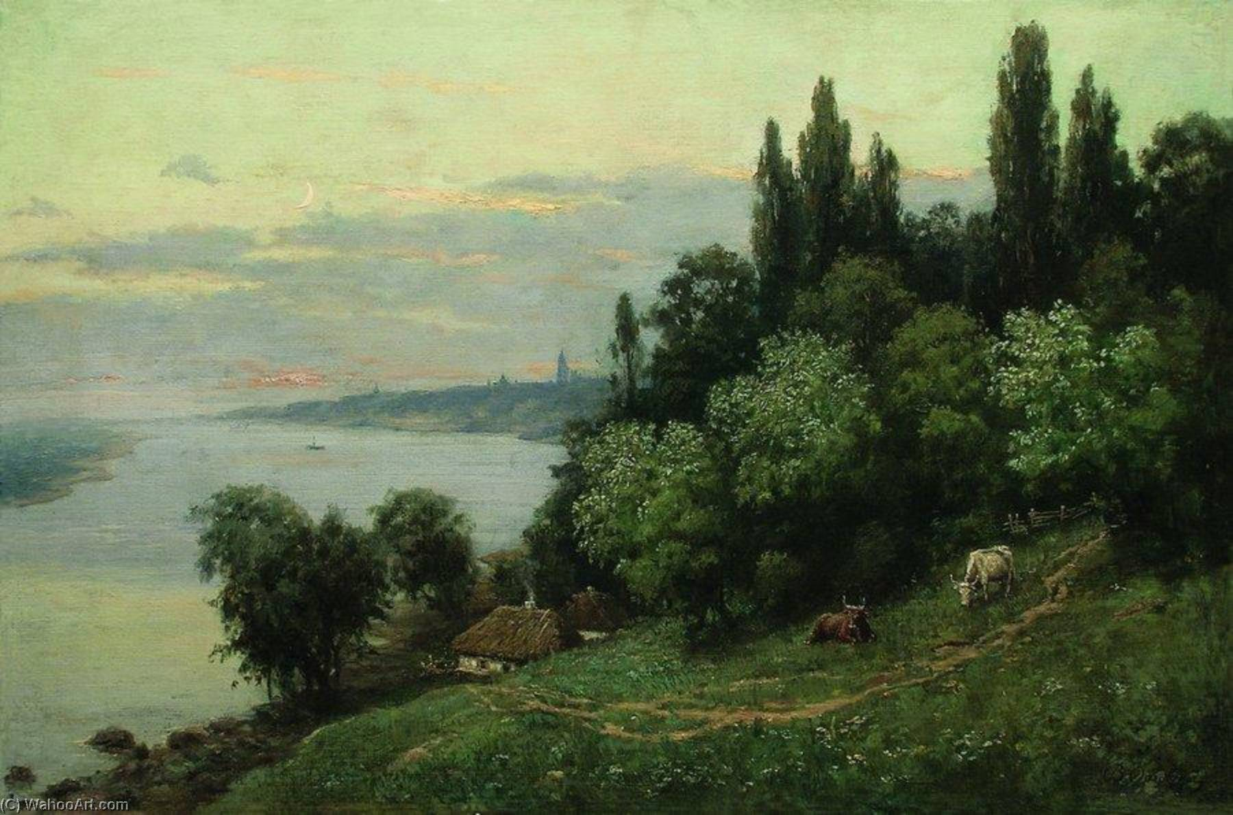 Evening on the River, 1890 by Vladimir Orlovsky | Museum Art Reproductions Vladimir Orlovsky | WahooArt.com