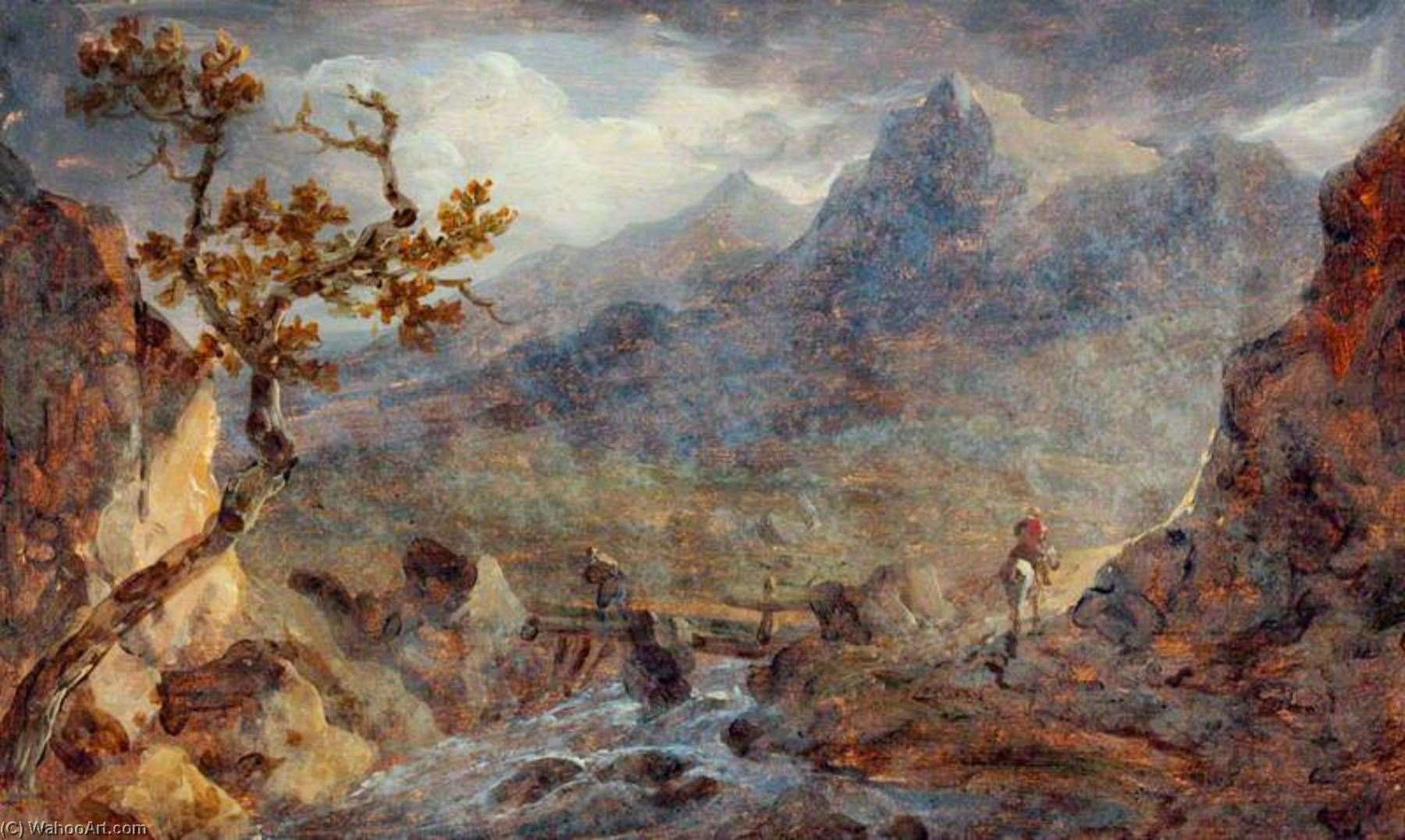 Scene in North Wales, Oil by Benjamin Barker Ii