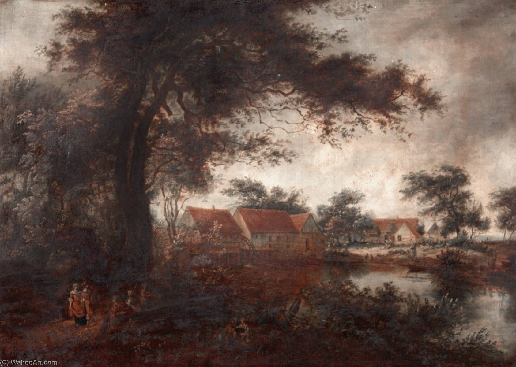 Landscape with a Watermill by Benjamin Barker Ii | Oil Painting | WahooArt.com