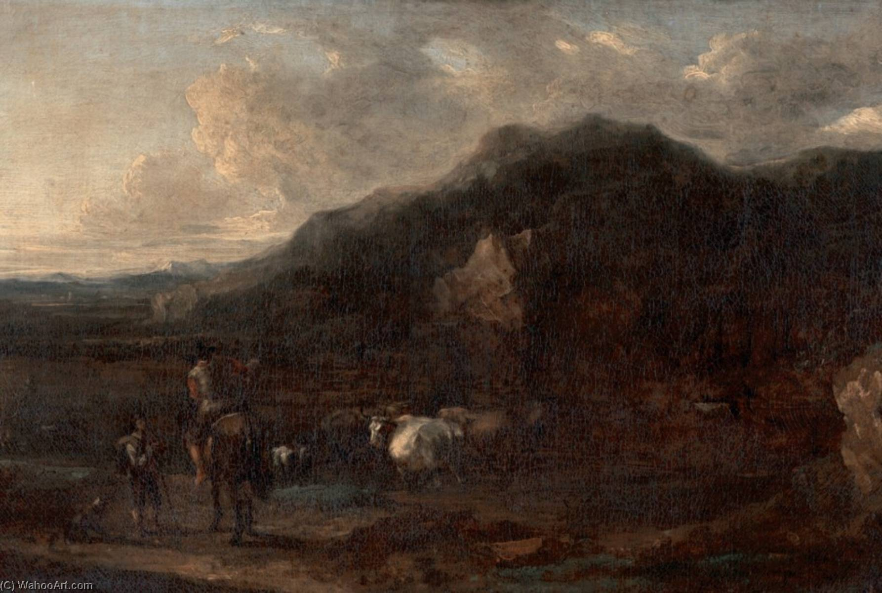 Landscape (style of Nicolaes Berchem), Oil On Canvas by Benjamin Barker Ii