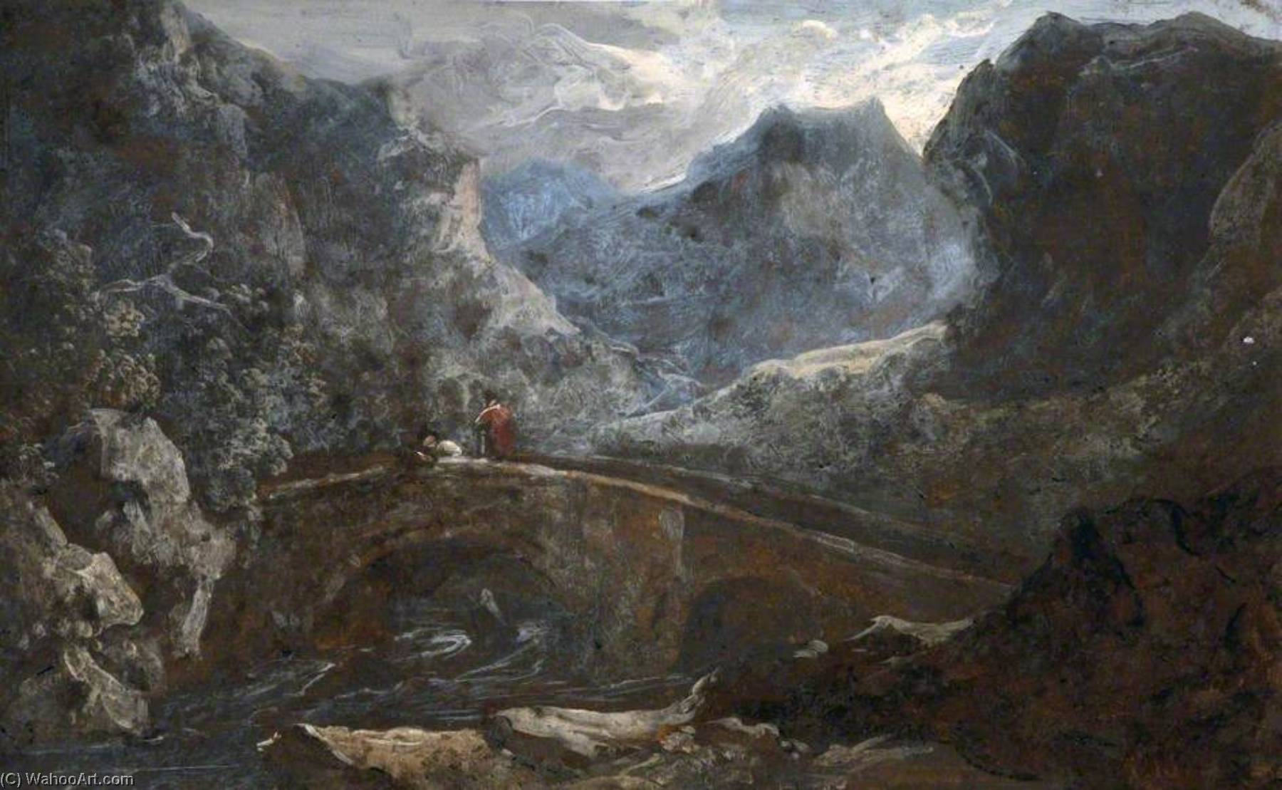 Mountain Valley with a Bridge, Oil by Benjamin Barker Ii