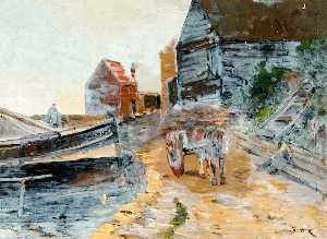William Henry Charlton - Harbour with a Horse