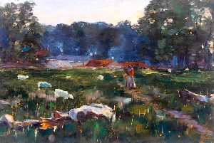 William Henry Charlton - Field with Sheep
