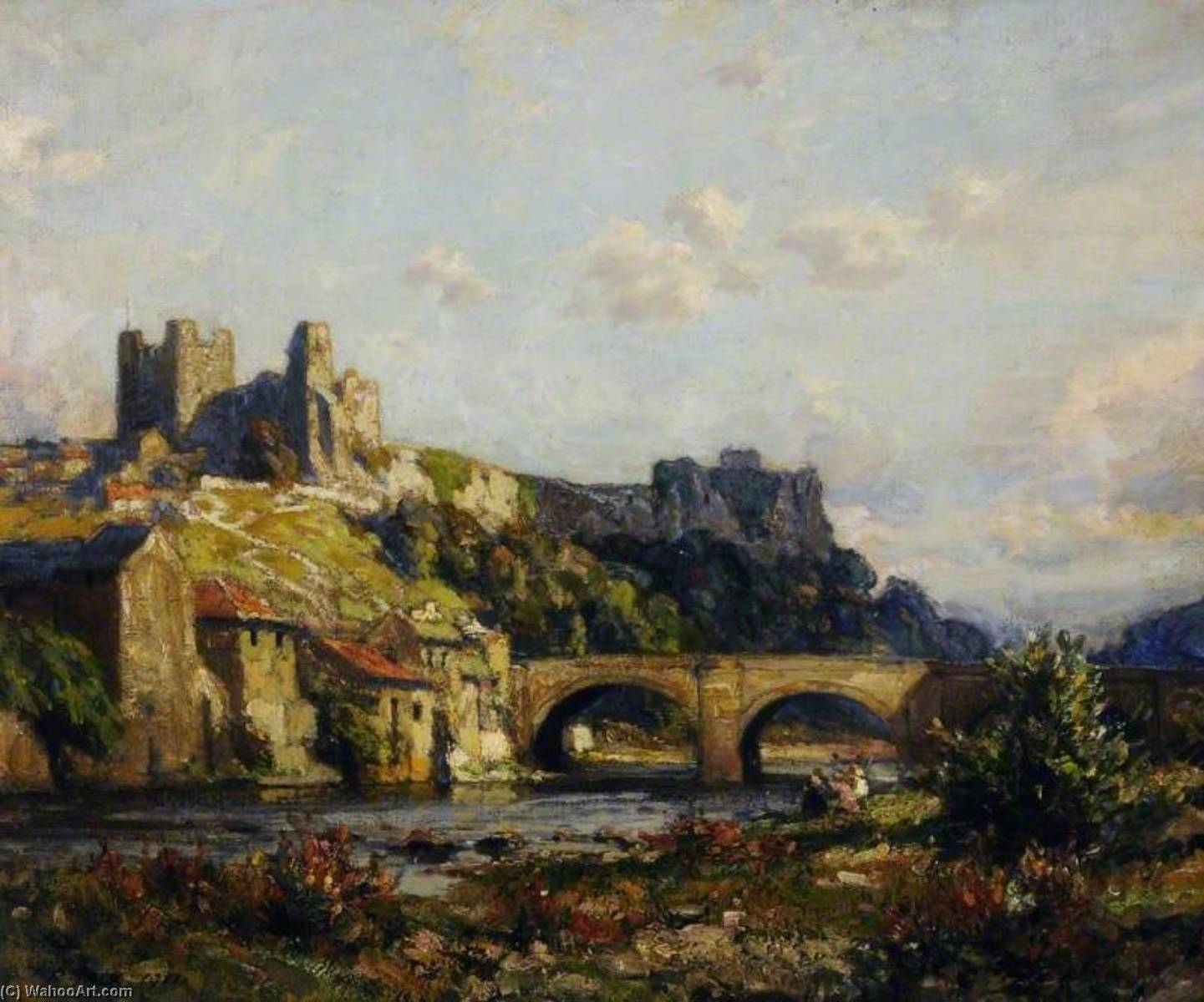 Richmond Castle, North Yorkshire, Oil On Canvas by Richard Jack (1866-1952, United Kingdom)
