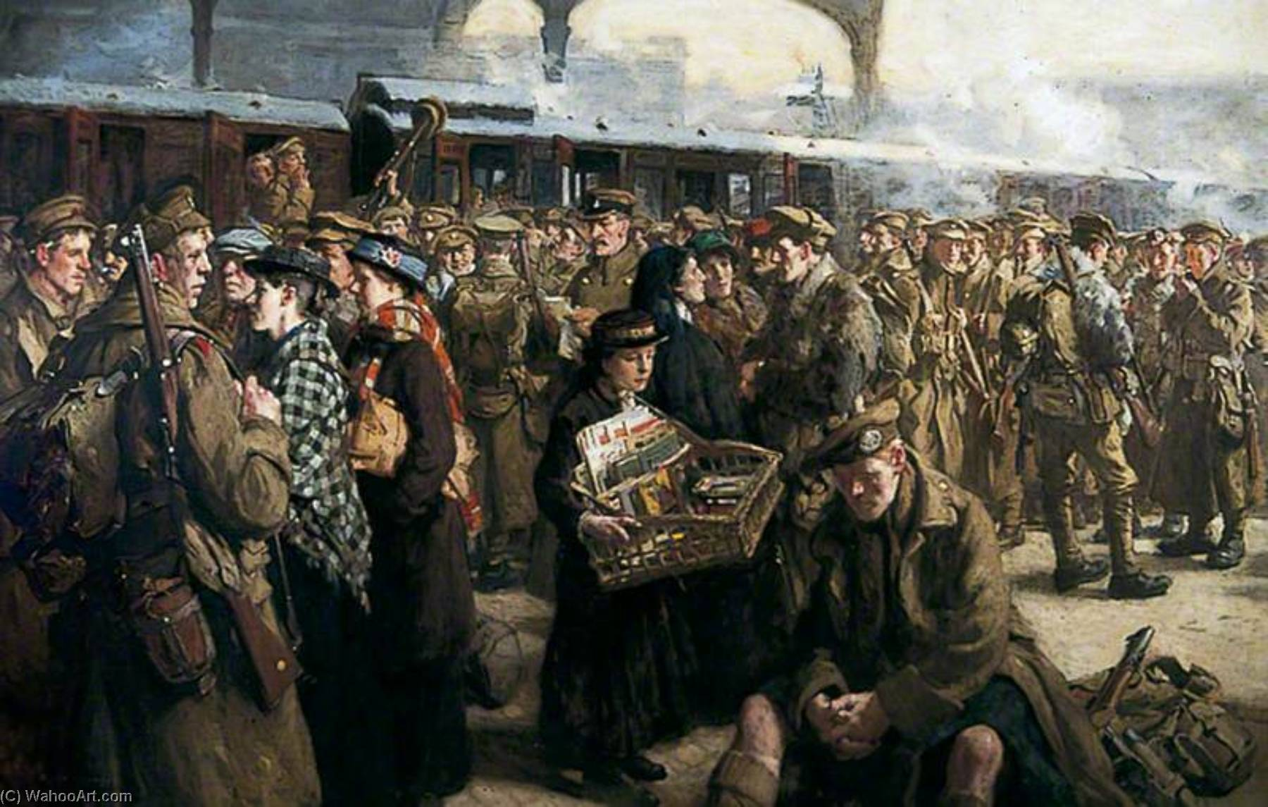 The Return to the Front Victoria Railway Station, Oil On Canvas by Richard Jack (1866-1952, United Kingdom)