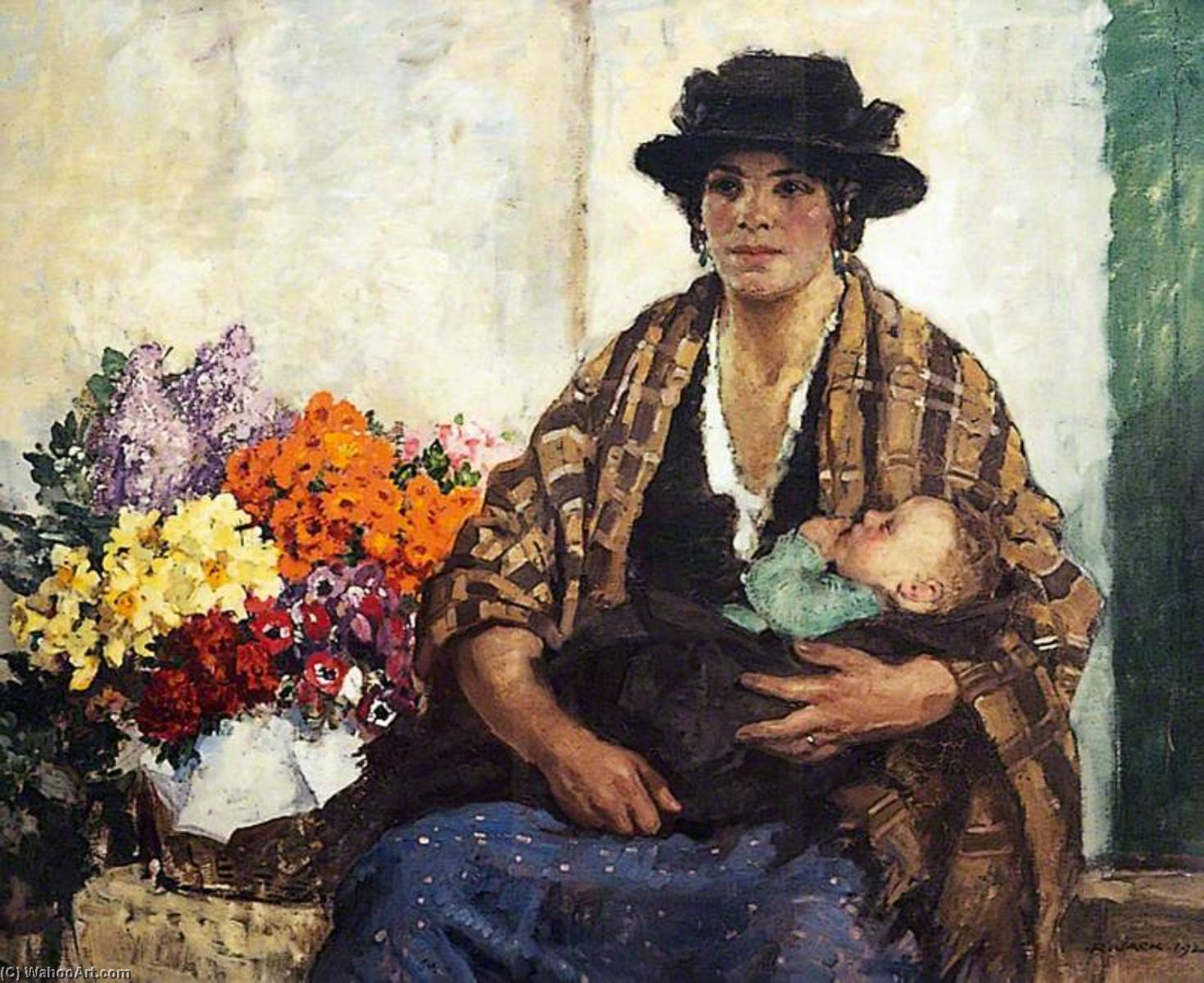 The Flower Seller, Oil On Canvas by Richard Jack (1866-1952, United Kingdom)