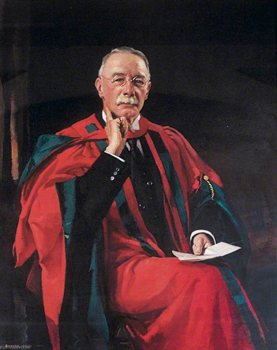 Arthur George Perkin (1861–1937), DSc, FRS, Professor of Colour Chemistry at the University of Leeds (1892–1926), 1927 by Richard Jack (1866-1952, United Kingdom) | Oil Painting | WahooArt.com