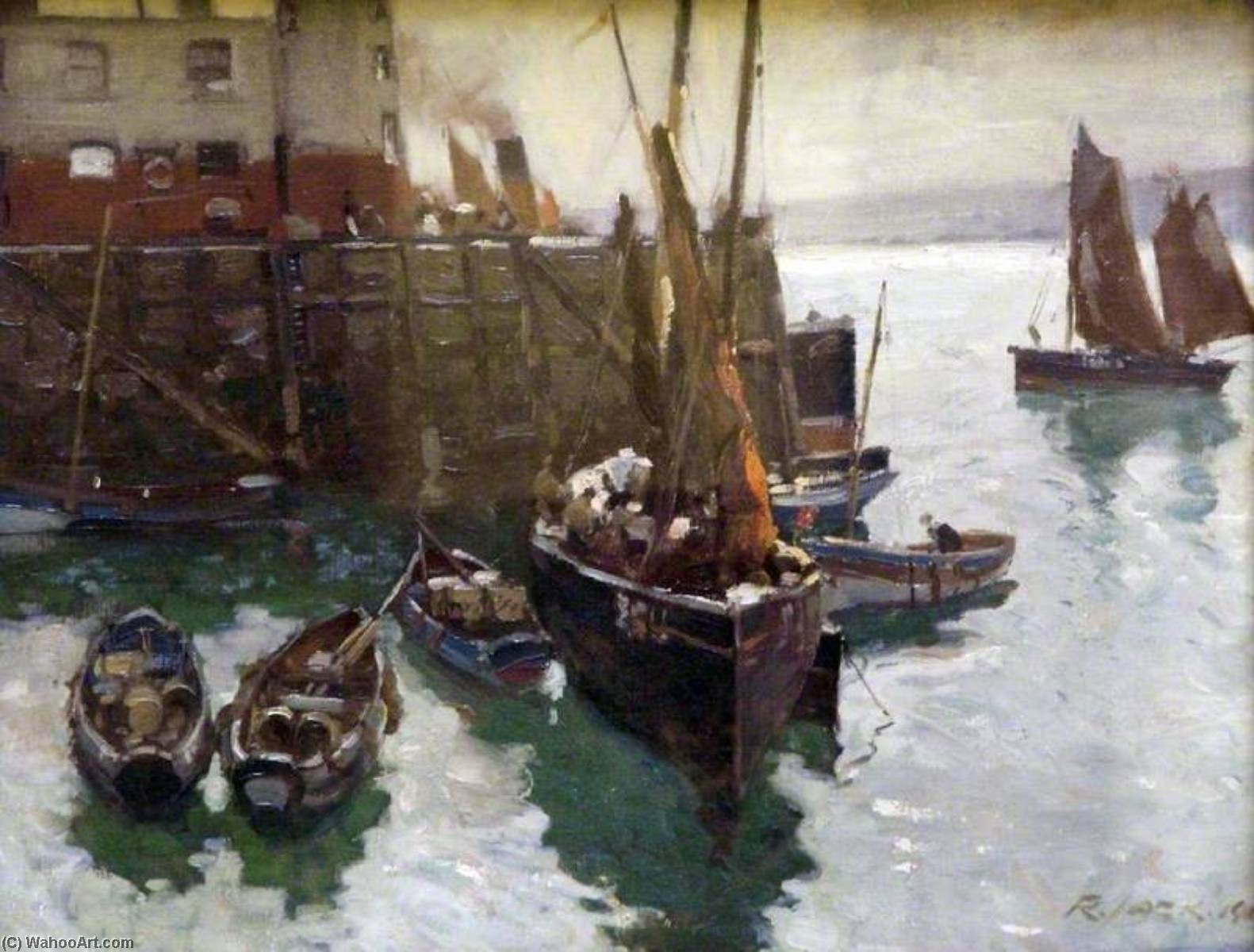 Scarborough Harbour, North Yorkshire, Oil On Canvas by Richard Jack (1866-1952, United Kingdom)