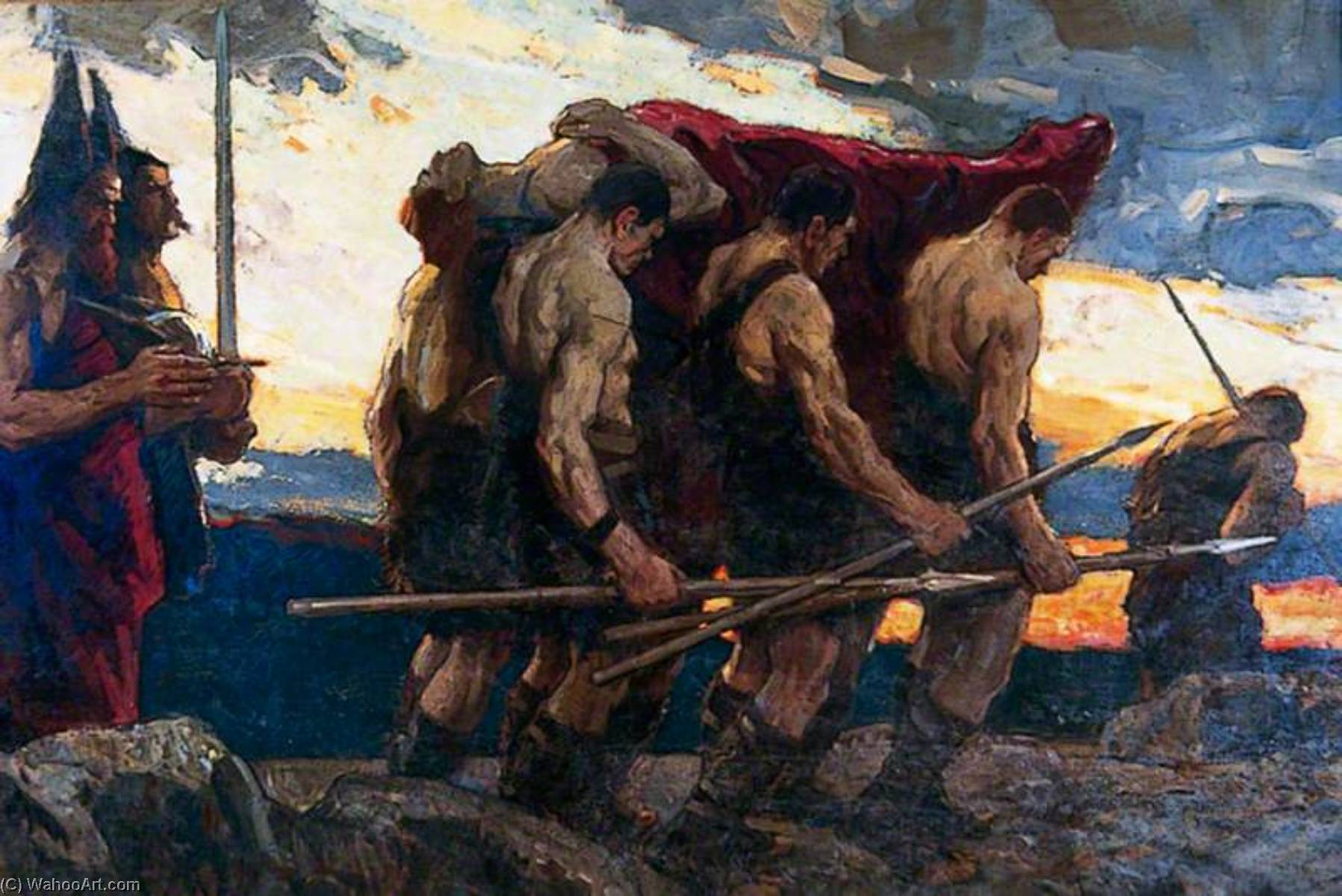 The Passing of the Chieftain, Oil On Canvas by Richard Jack (1866-1952, United Kingdom)