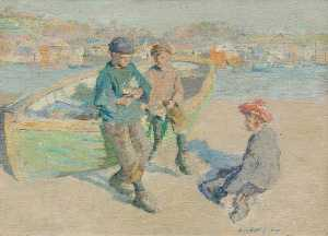 Harold Harvey - Children in Newlyn Harbour