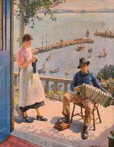Harold Harvey - The Blue Door Newlyn
