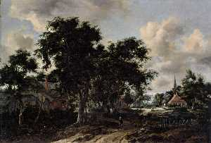 Meyndert Hobbema - Entrance to a Village