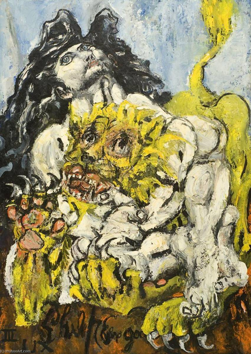 Samson And The Lion, Oil On Canvas by Philip Evergood (1901-1973)