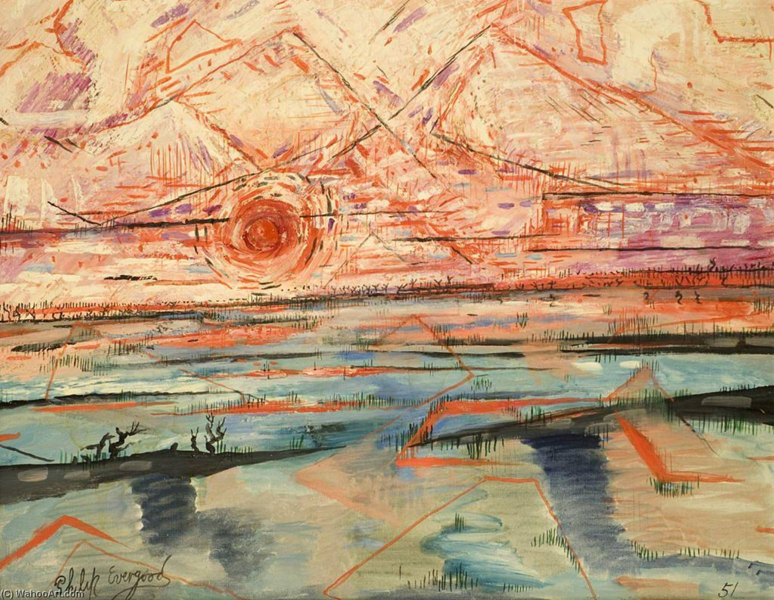 Sunset, Oil On Canvas by Philip Evergood (1901-1973)