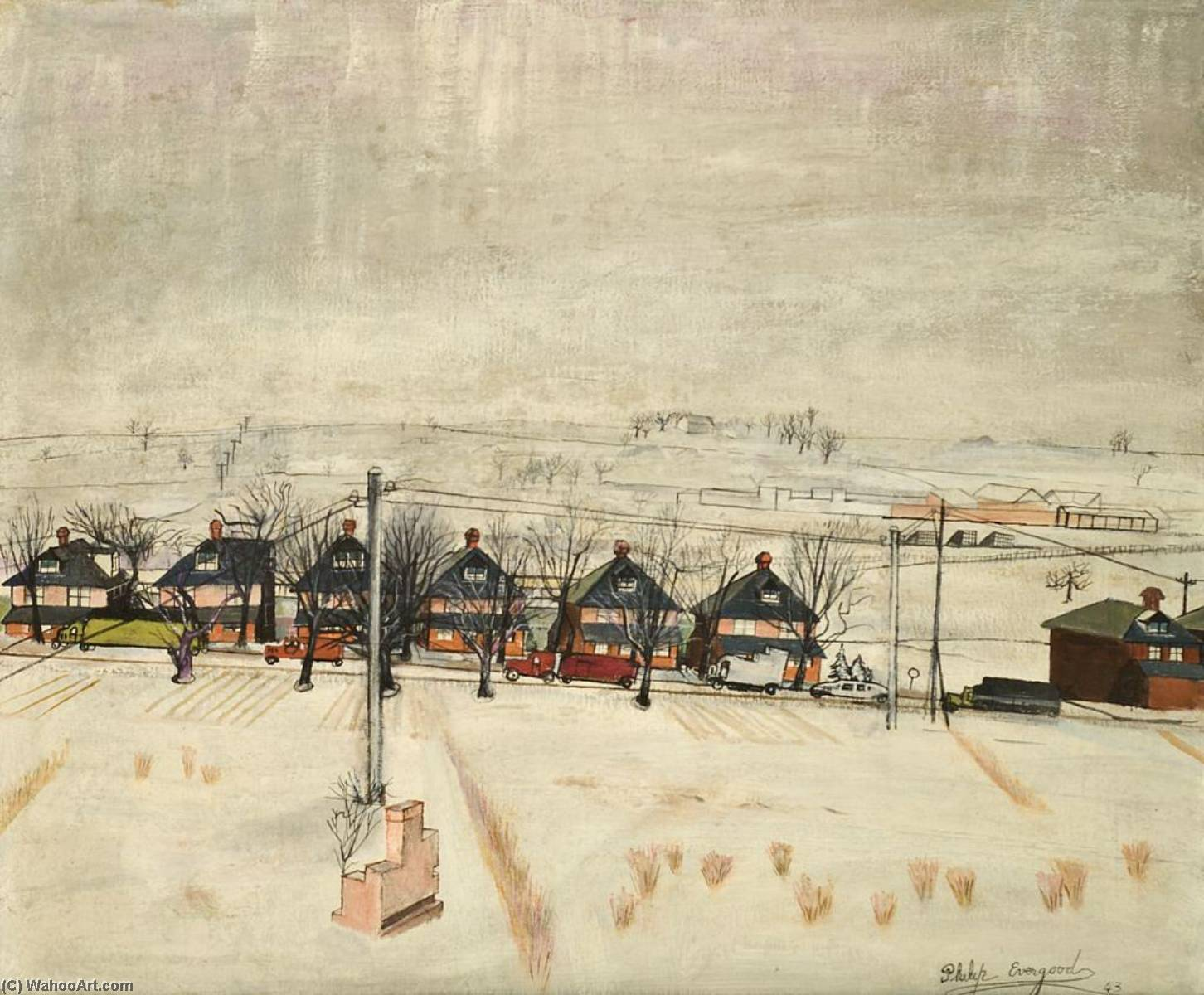 Suburban Landscape, 1943 by Philip Evergood (1901-1973) | WahooArt.com