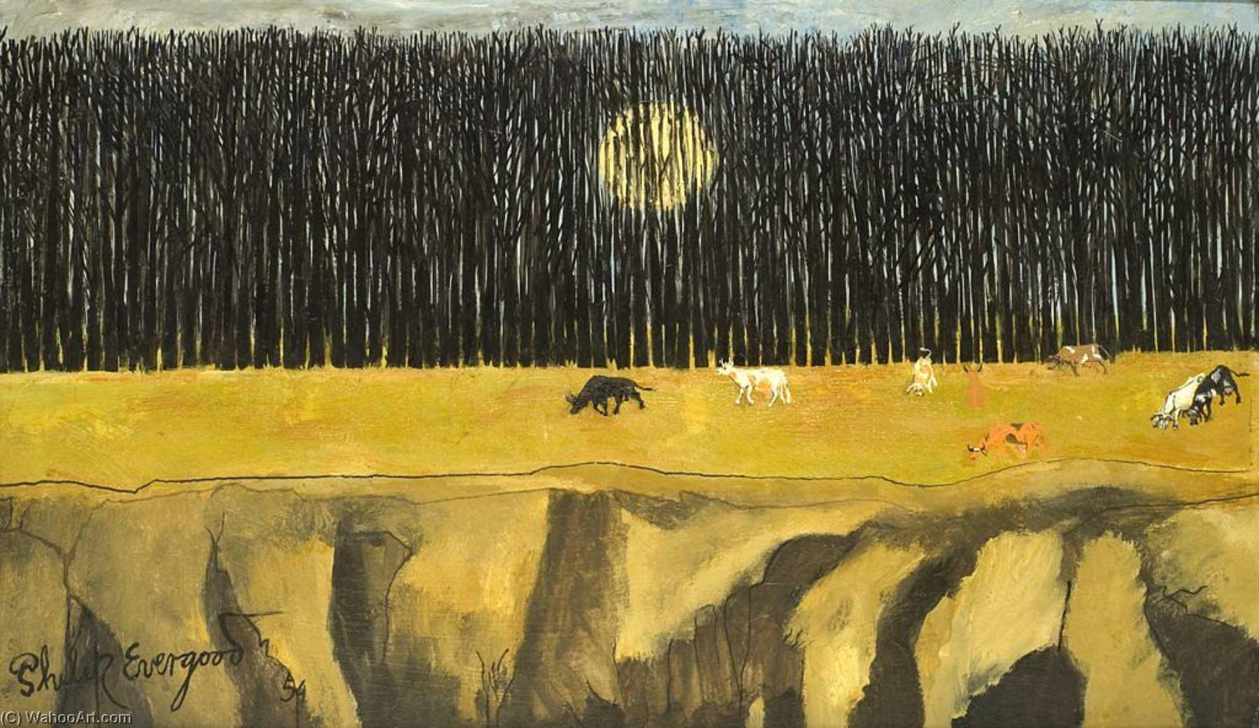 Sun Behind a Wood, 1954 by Philip Evergood (1901-1973) | WahooArt.com