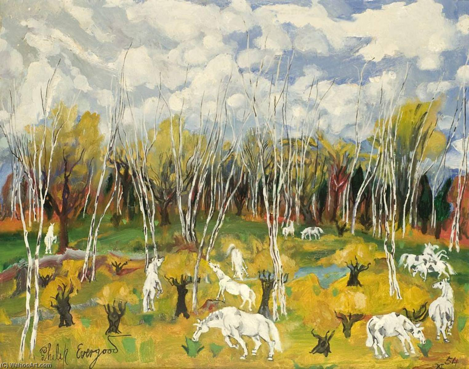 Birch Tree and White Horses, 1954 by Philip Evergood (1901-1973) | Famous Paintings Reproductions | WahooArt.com