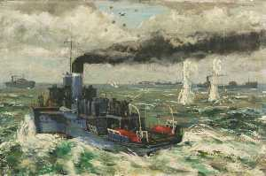 William D Dring - HMS 'Lorna Doone' during an Attack on an East Coast Convoy