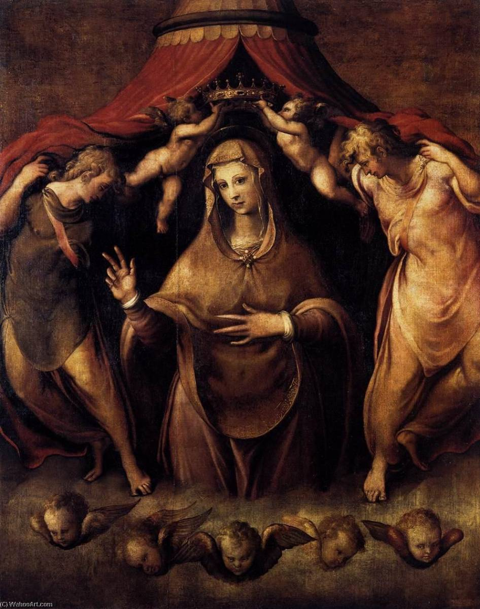 English Coronation of the Virgin with Angels, 1550 by Francesco De' Rossi | Painting Copy | WahooArt.com