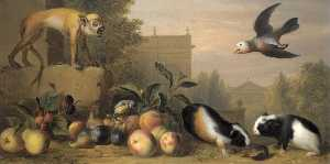 Buy Museum Art Reproductions | Capuchin squirrel monkey, two guinea pigs, a blue tit and an Amazon St. Vincent parrot with Peaches, Figs and Pears in a landscape, 1720 by Jakob Bogdani | WahooArt.com