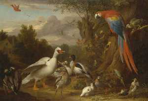 Jakob Bogdani - A Macaw, Ducks, Parrots and Other Birds in a Landscape