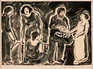 Abraham Walkowitz - Four Women With Man And Basket