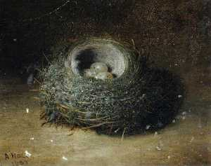 Order Oil Painting : Nest with Three Eggs, 1889 by Abel Hold | WahooArt.com