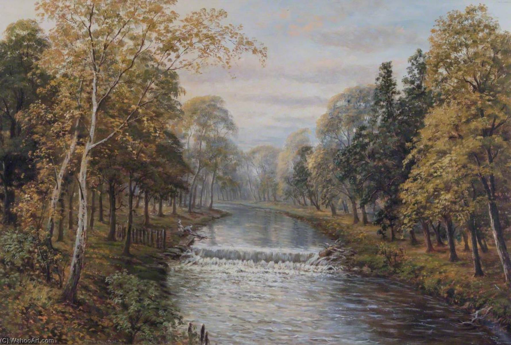 Weir, Pymmes Brook, Edmonton, Oil On Canvas by John Bonny
