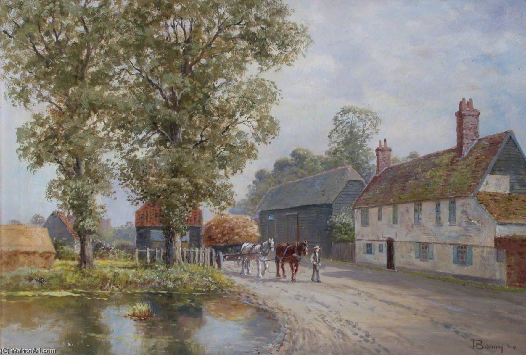 Rectory Farm, White Hart Lane, Tottenham, Oil On Canvas by John Bonny