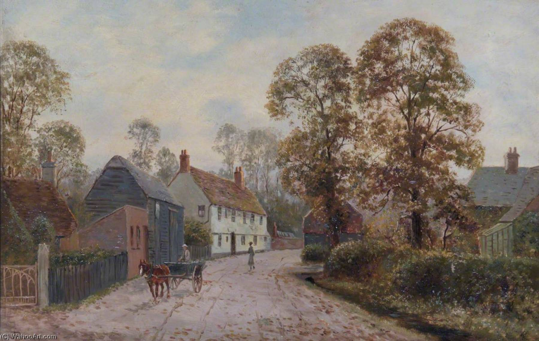 View of Rectory Farm on White Hart Lane, Tottenham, Oil On Canvas by John Bonny