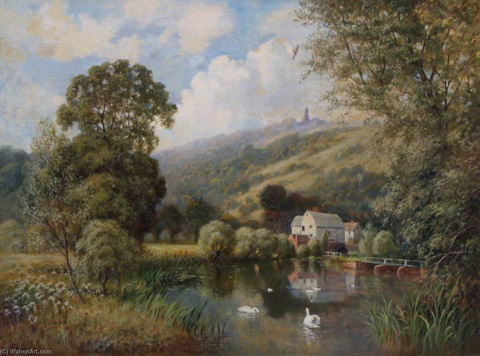 Leith Hill, Surrey, with a Water Mill, Oil On Canvas by John Bonny