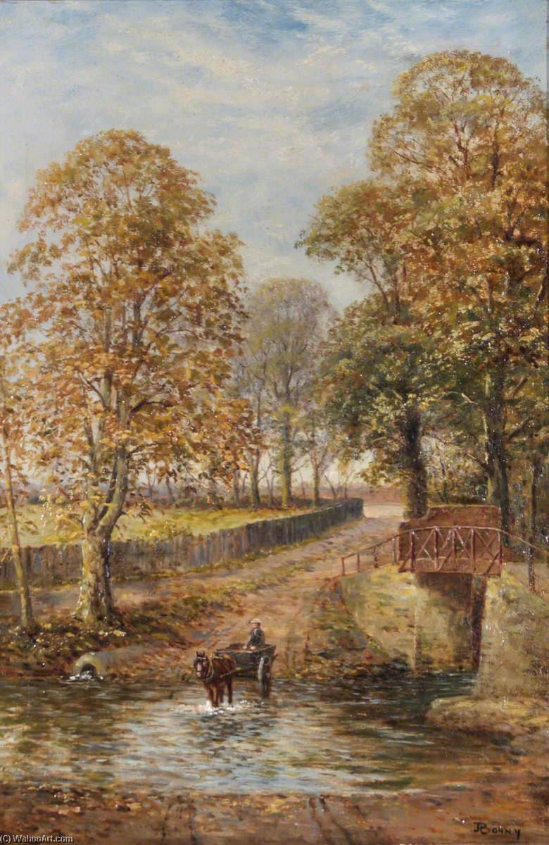 Crossing the Brook near Weir Hall, Oil On Canvas by John Bonny