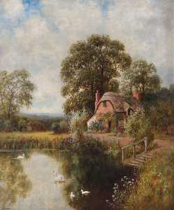 John Bonny - Landscape with a Thatched Cottage and a Lake