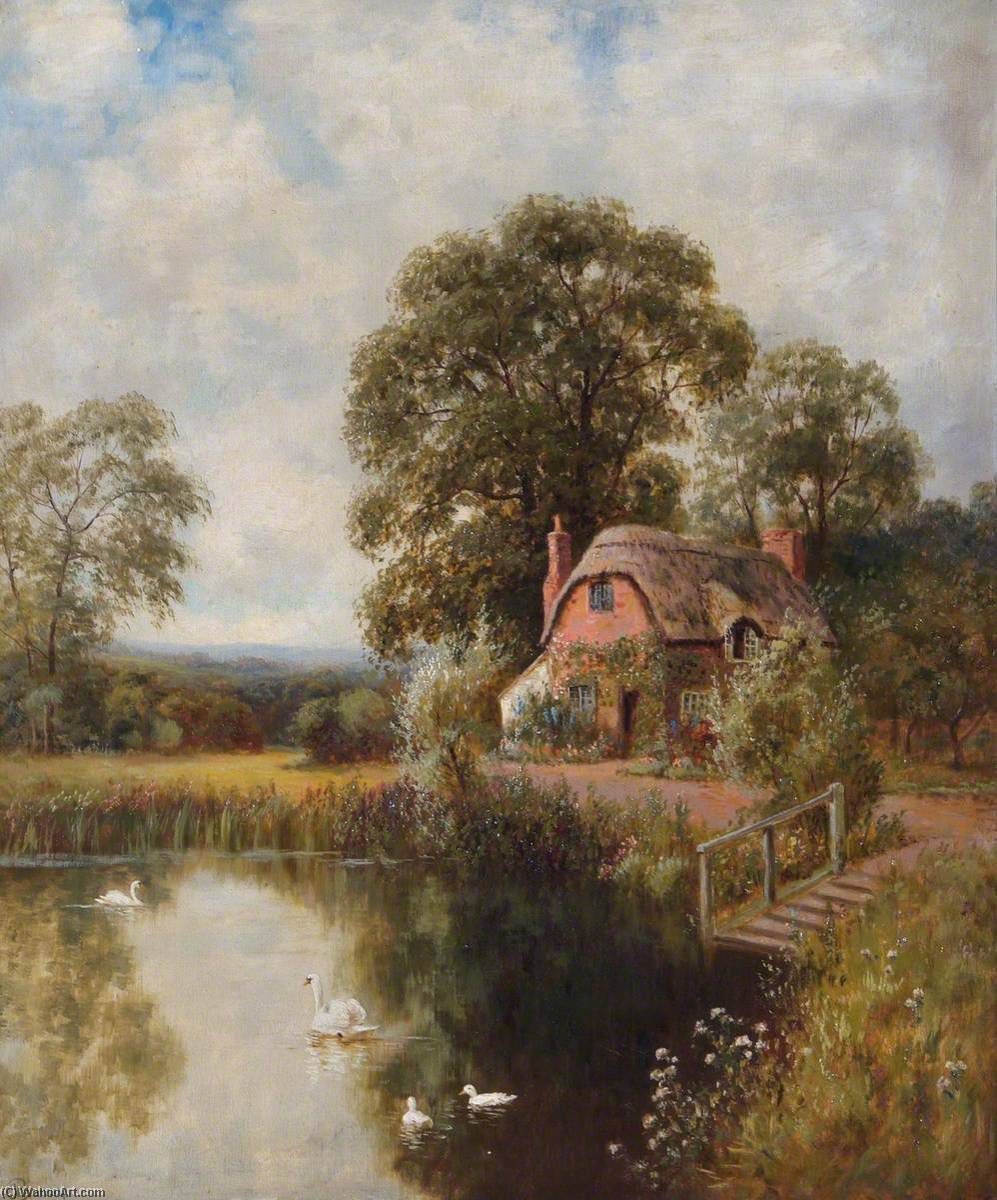 Landscape with a Thatched Cottage and a Lake by John Bonny | Reproductions John Bonny | WahooArt.com