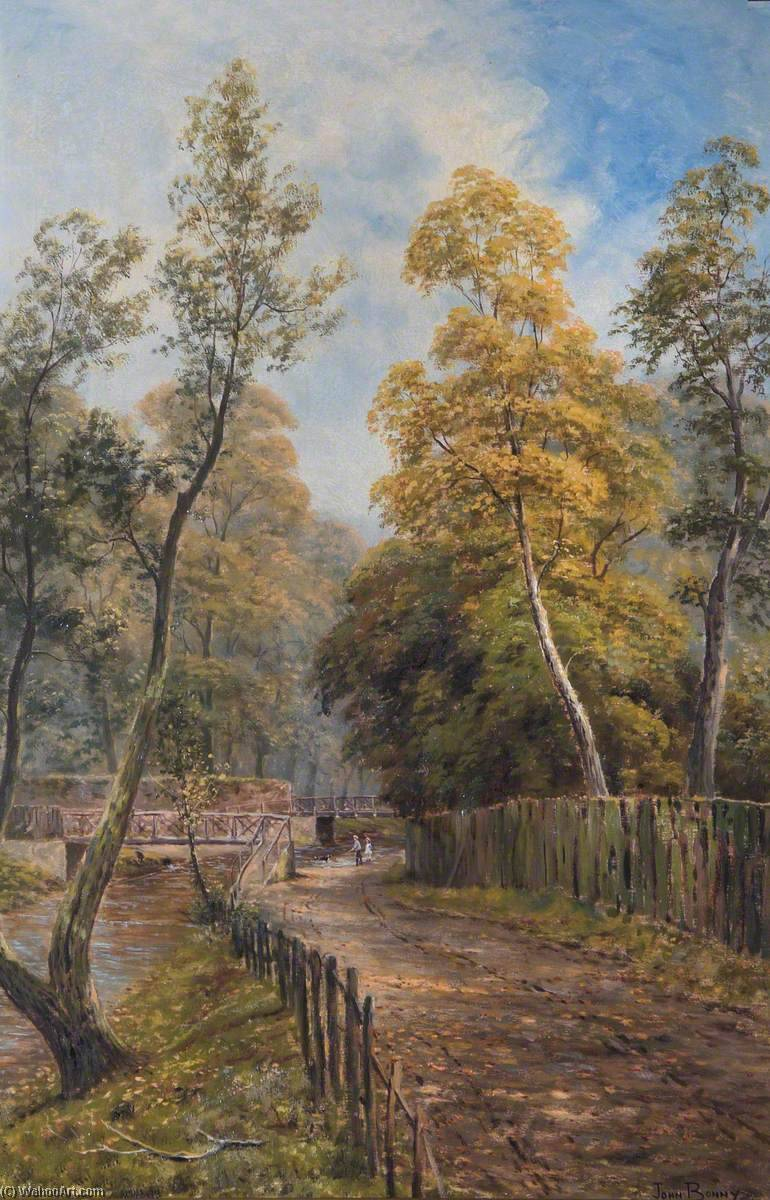 Ford, Pymmes Brook, near Weir Hall, Edmonton, Oil On Canvas by John Bonny